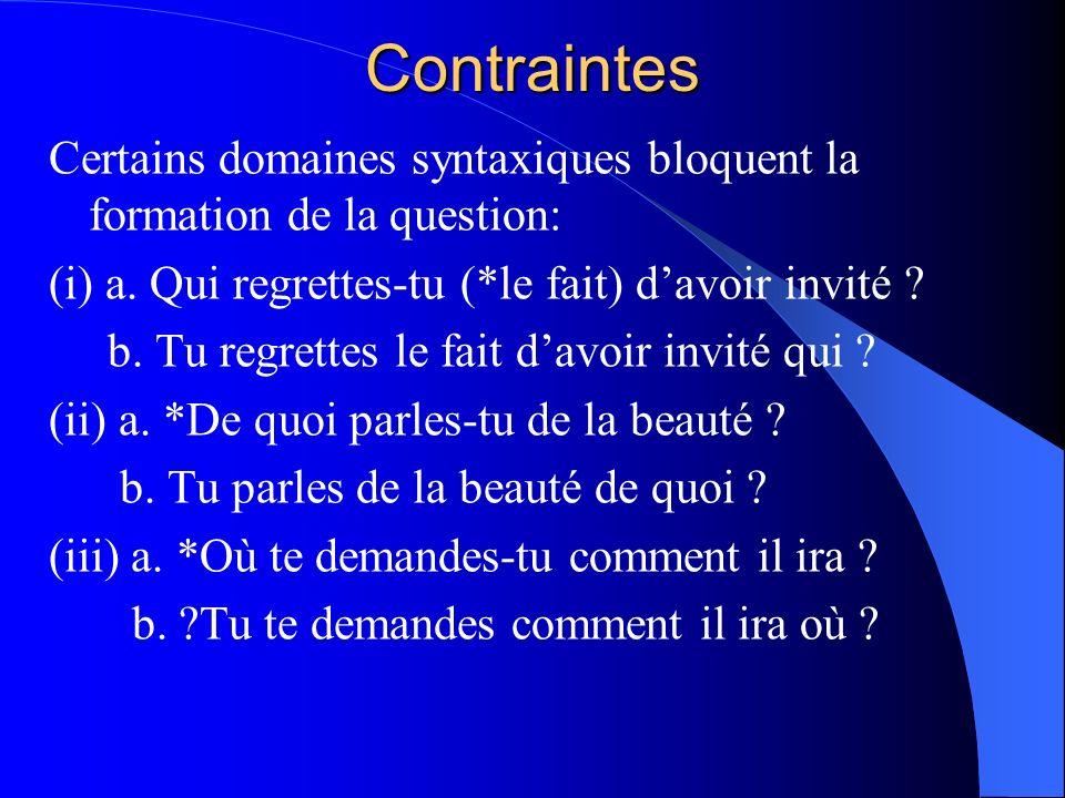 Contraintes Certains domaines syntaxiques bloquent la formation de la question: (i) a. Qui regrettes-tu (*le fait) davoir invité ? b. Tu regrettes le