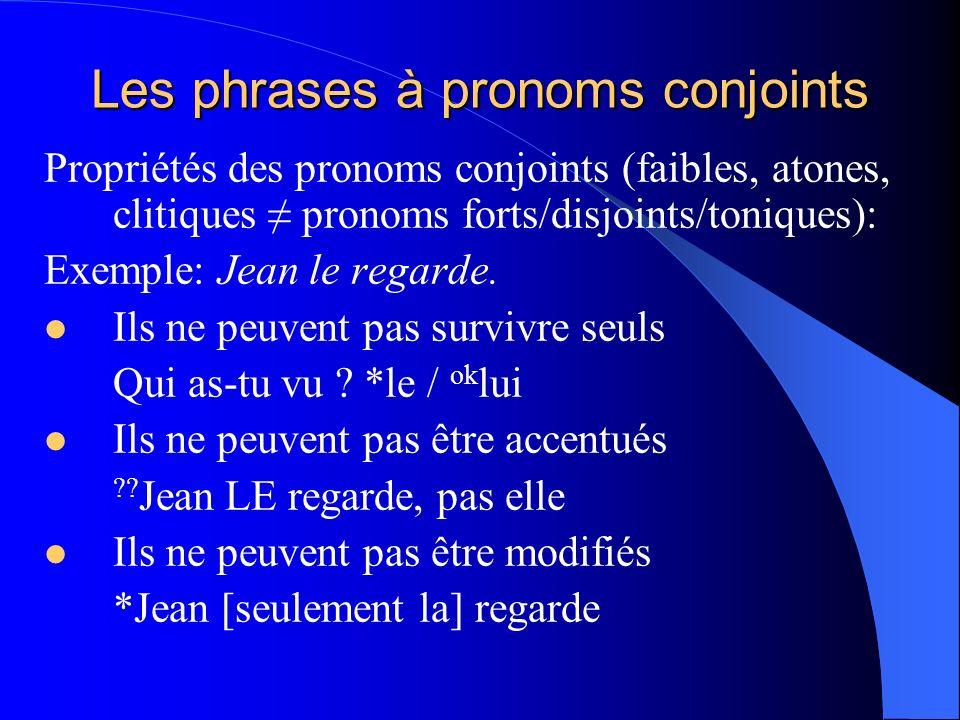 Les phrases à pronoms conjoints Propriétés des pronoms conjoints (faibles, atones, clitiques pronoms forts/disjoints/toniques): Exemple: Jean le regar