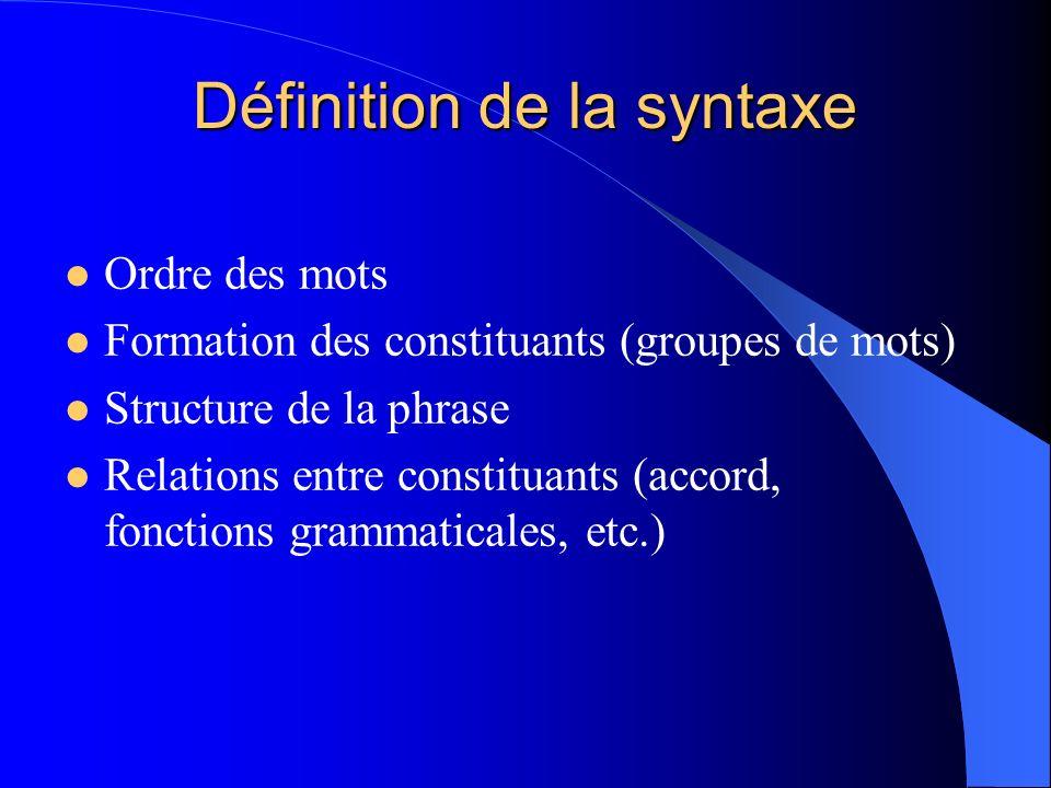 Définition de la syntaxe Ordre des mots Formation des constituants (groupes de mots) Structure de la phrase Relations entre constituants (accord, fonc