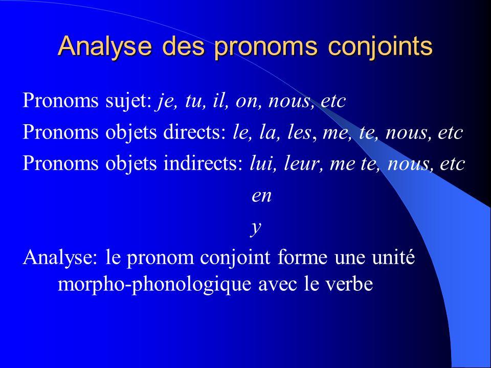 Analyse des pronoms conjoints Pronoms sujet: je, tu, il, on, nous, etc Pronoms objets directs: le, la, les, me, te, nous, etc Pronoms objets indirects