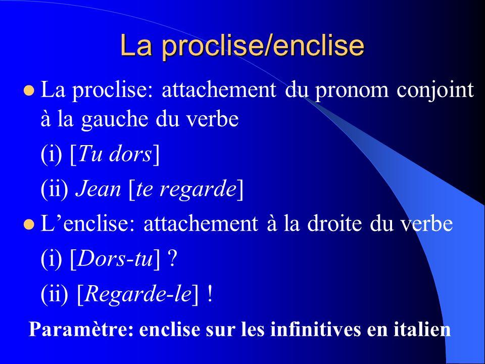 La proclise/enclise La proclise: attachement du pronom conjoint à la gauche du verbe (i) [Tu dors] (ii) Jean [te regarde] Lenclise: attachement à la d
