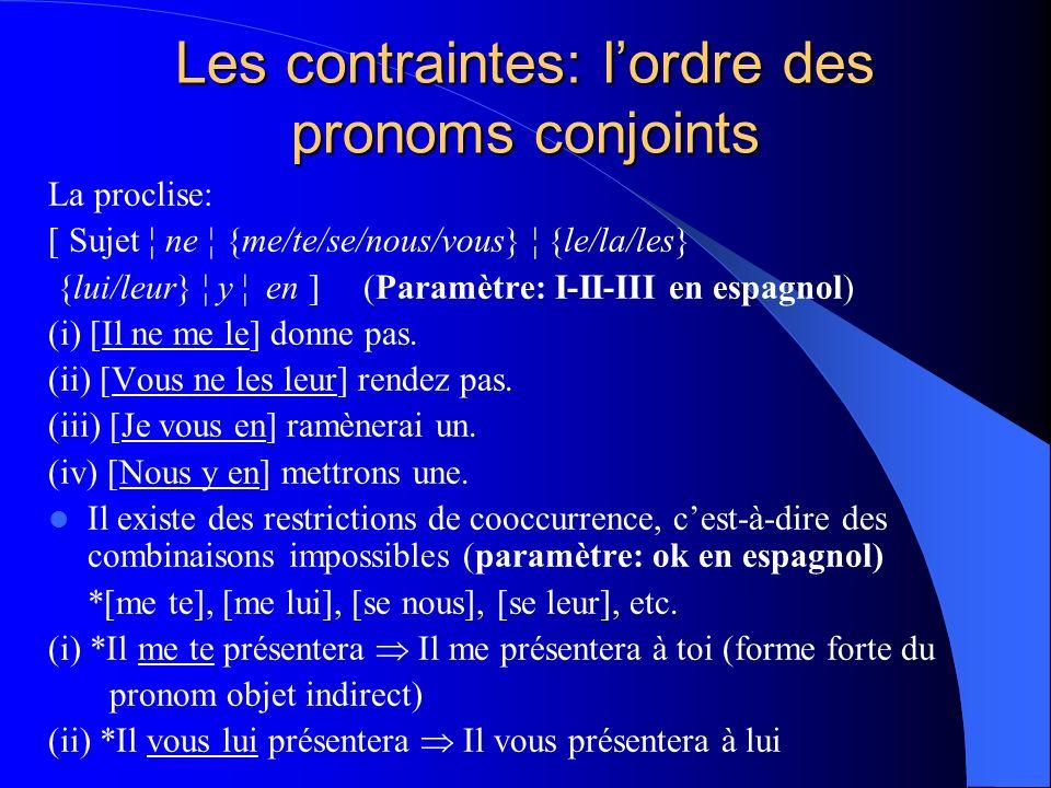 Les contraintes: lordre des pronoms conjoints La proclise: [ Sujet ¦ ne ¦ {me/te/se/nous/vous} ¦ {le/la/les} {lui/leur} ¦ y ¦ en ](Paramètre: I-II-III
