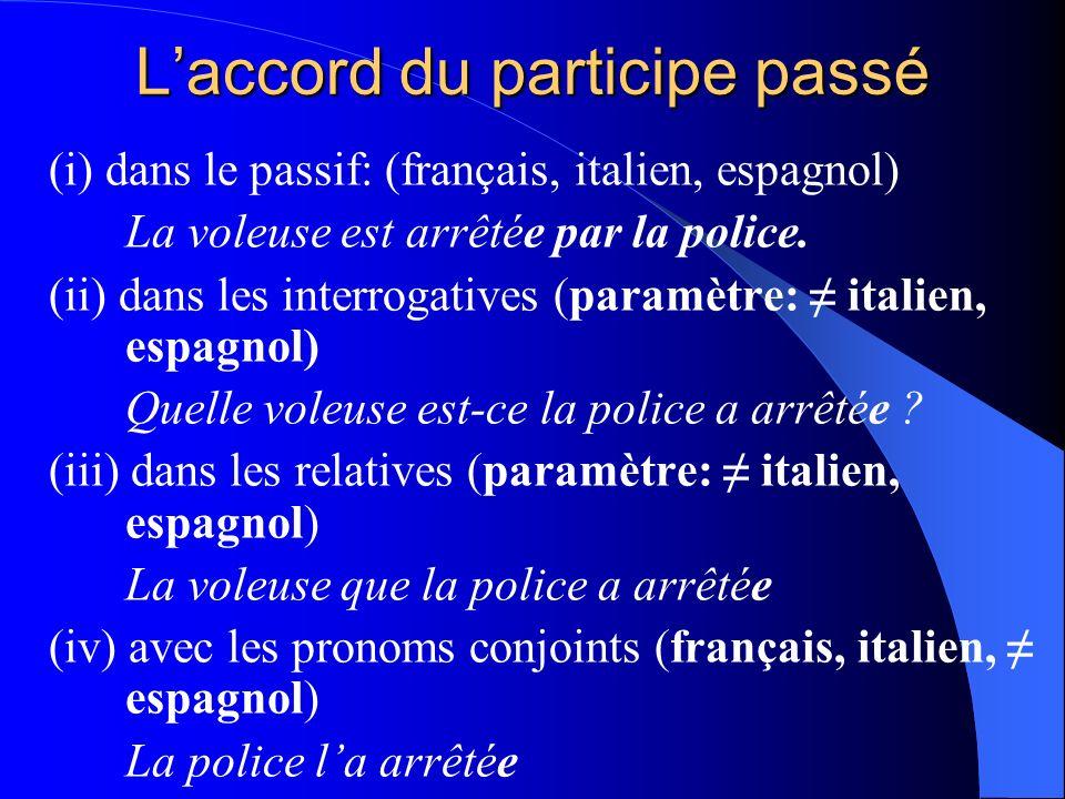 Laccord du participe passé (i) dans le passif: (français, italien, espagnol) La voleuse est arrêtée par la police. (ii) dans les interrogatives (param