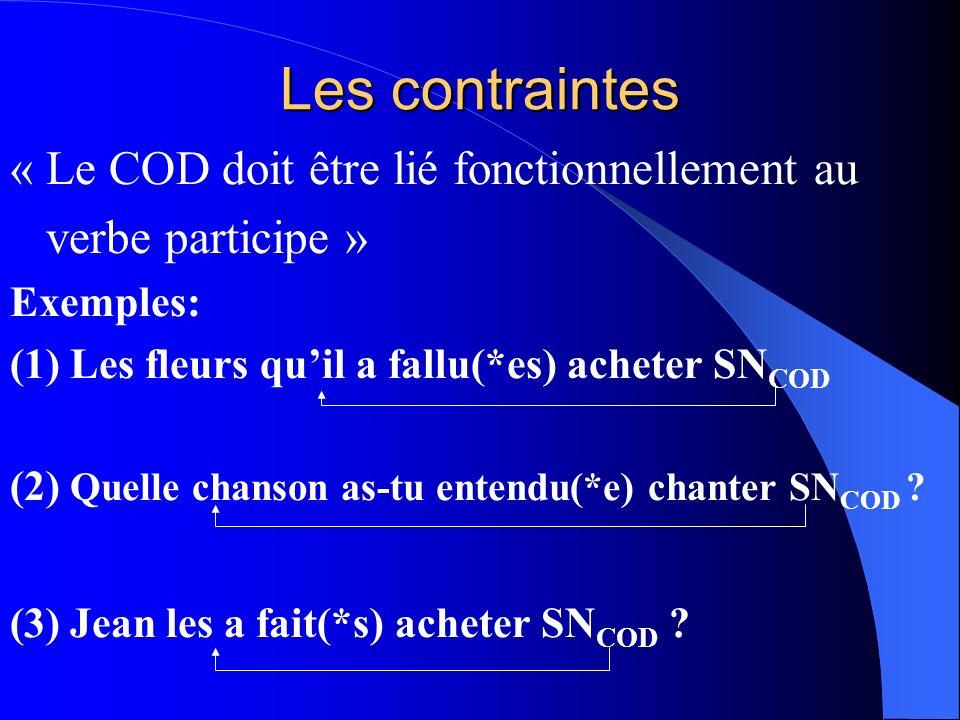 Les contraintes « Le COD doit être lié fonctionnellement au verbe participe » Exemples: (1) Les fleurs quil a fallu(*es) acheter SN COD (2) Quelle cha