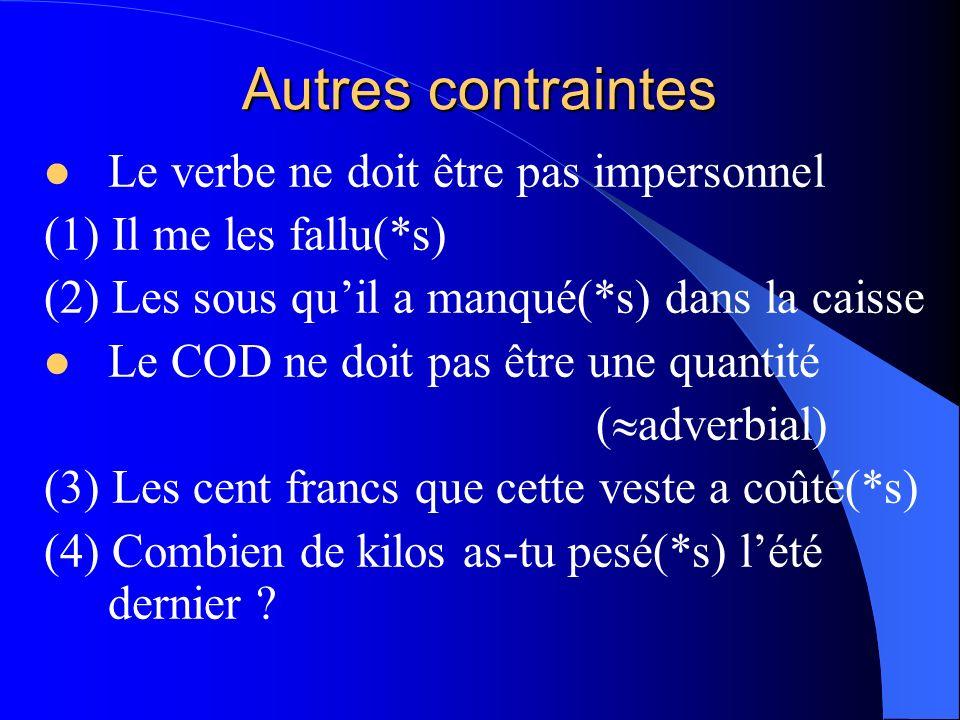 Autres contraintes Le verbe ne doit être pas impersonnel (1) Il me les fallu(*s) (2) Les sous quil a manqué(*s) dans la caisse Le COD ne doit pas être