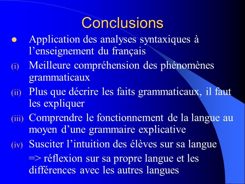 Conclusions Application des analyses syntaxiques à lenseignement du français (i) Meilleure compréhension des phénomènes grammaticaux (ii) Plus que déc