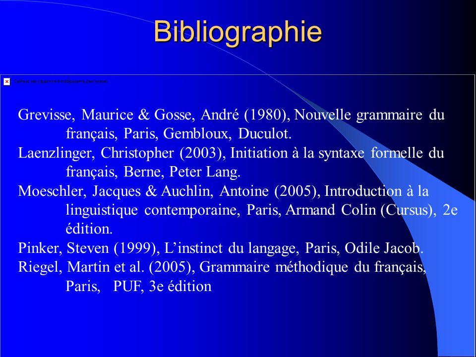 Bibliographie Grevisse, Maurice & Gosse, André (1980), Nouvelle grammaire du français, Paris, Gembloux, Duculot. Laenzlinger, Christopher (2003), Init