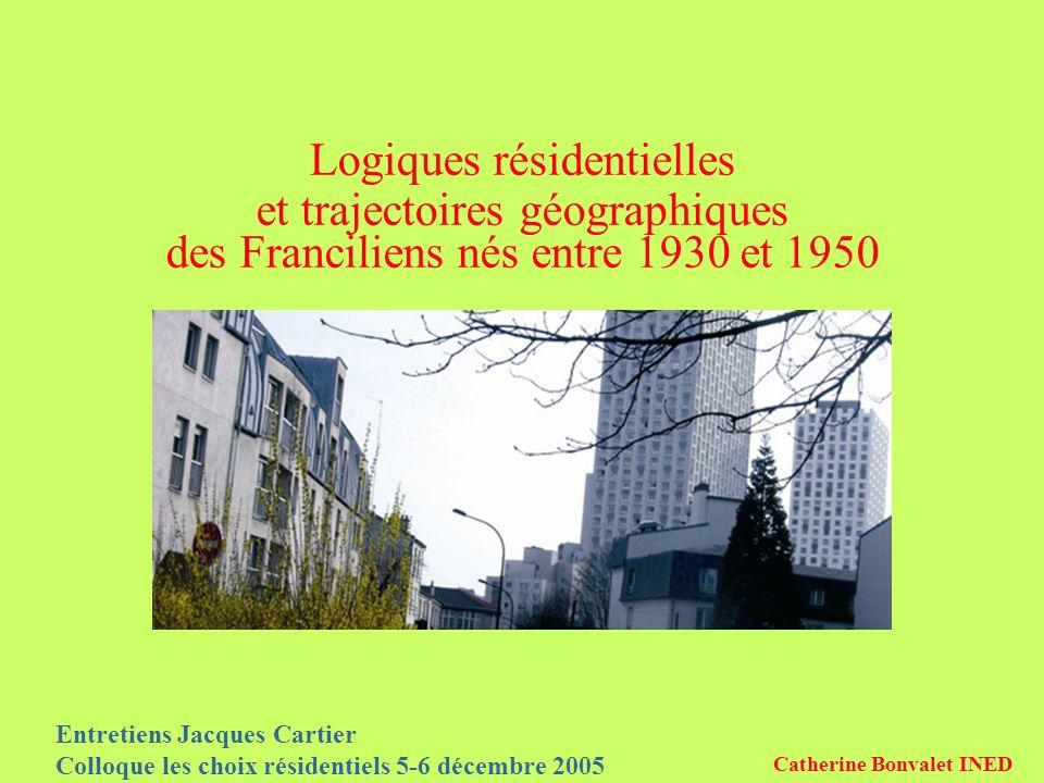 Entretiens Jacques Cartier Colloque les choix résidentiels 5-6 décembre 2005 Catherine Bonvalet INED Logiques résidentielles et trajectoires géographiques des Franciliens nés entre 1930 et 1950