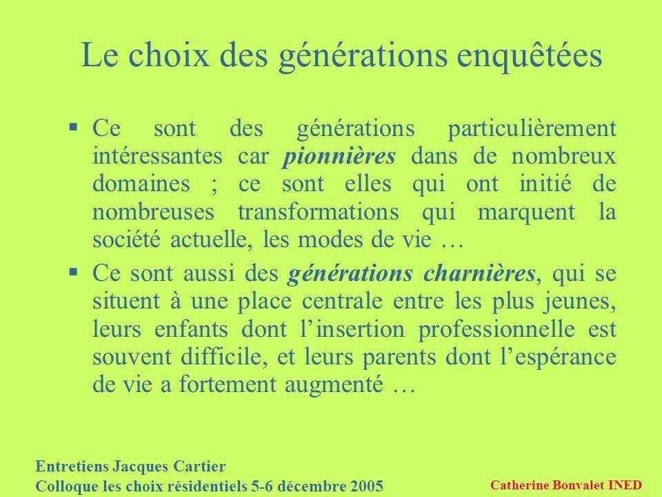 Entretiens Jacques Cartier Colloque les choix résidentiels 5-6 décembre 2005 Catherine Bonvalet INED Le choix des générations enquêtées Ce sont des gé