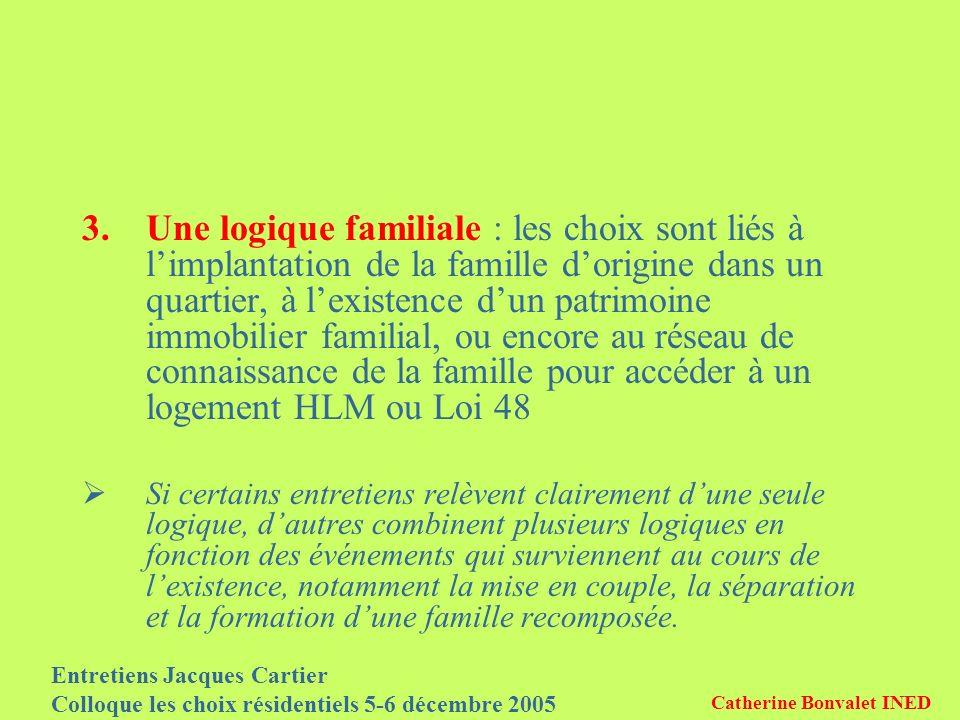 Entretiens Jacques Cartier Colloque les choix résidentiels 5-6 décembre 2005 Catherine Bonvalet INED 3.Une logique familiale : les choix sont liés à l