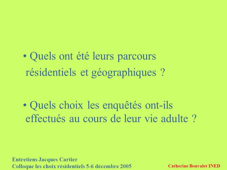 Entretiens Jacques Cartier Colloque les choix résidentiels 5-6 décembre 2005 Catherine Bonvalet INED Quels ont été leurs parcours résidentiels et géog