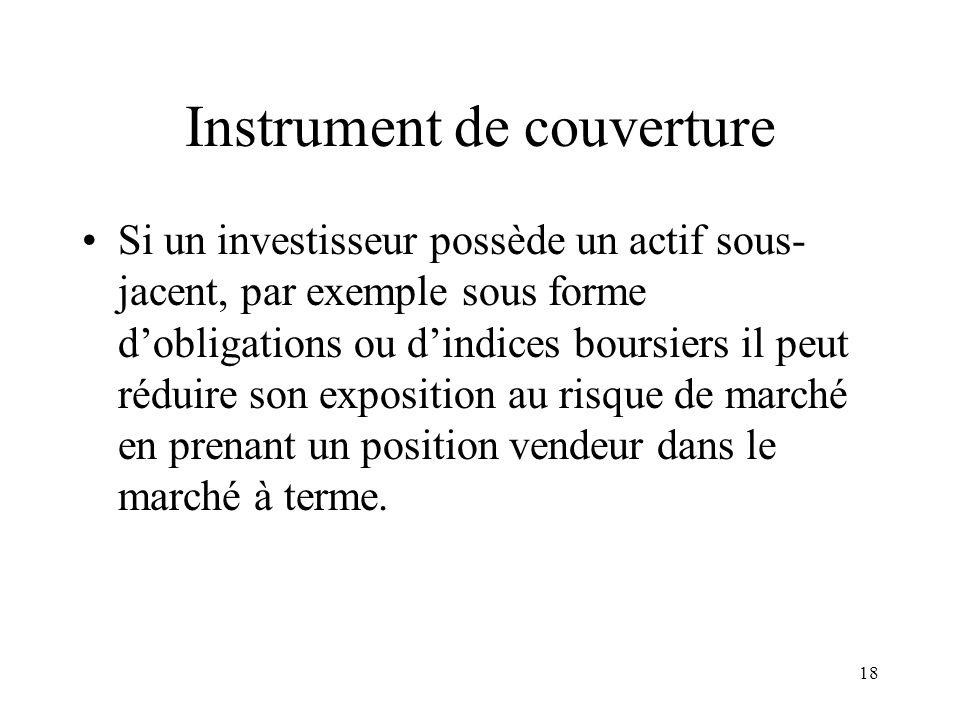 18 Instrument de couverture Si un investisseur possède un actif sous- jacent, par exemple sous forme dobligations ou dindices boursiers il peut réduir