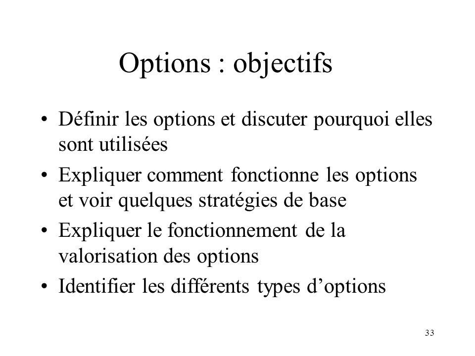 33 Options : objectifs Définir les options et discuter pourquoi elles sont utilisées Expliquer comment fonctionne les options et voir quelques stratég