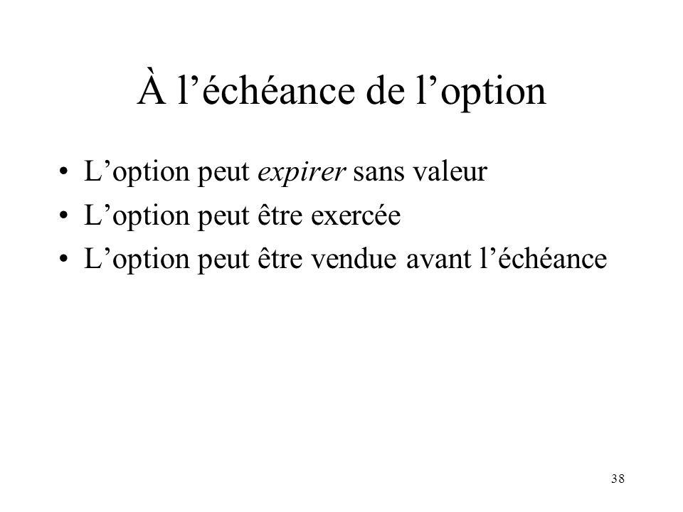 38 À léchéance de loption Loption peut expirer sans valeur Loption peut être exercée Loption peut être vendue avant léchéance