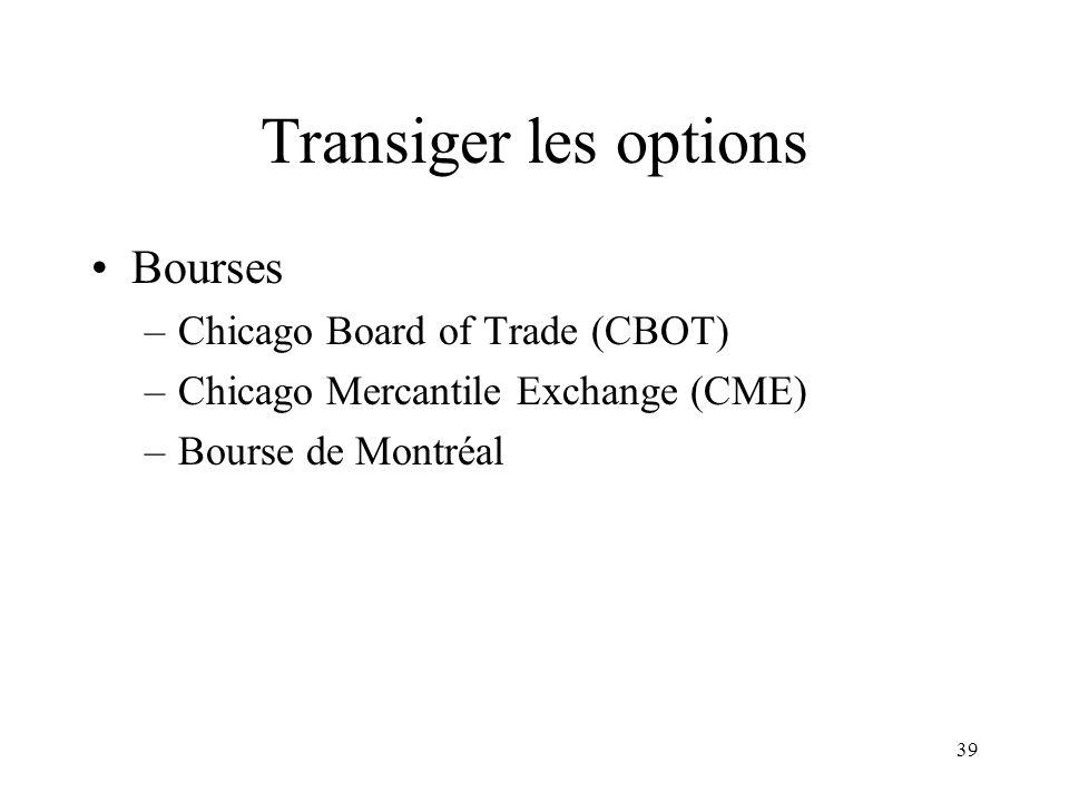 39 Transiger les options Bourses –Chicago Board of Trade (CBOT) –Chicago Mercantile Exchange (CME) –Bourse de Montréal