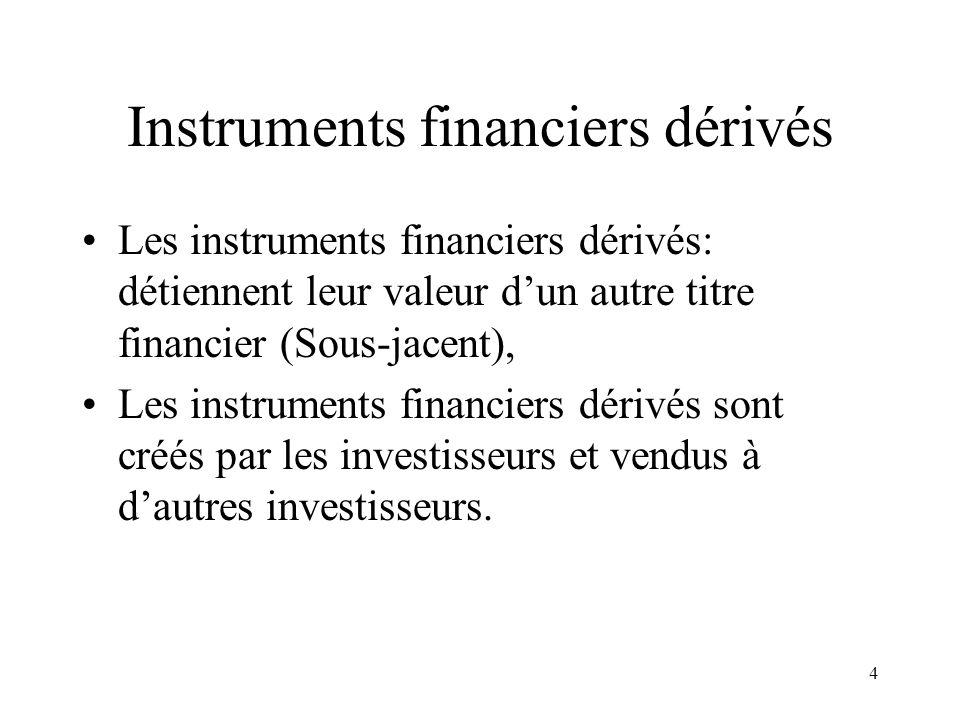 4 Instruments financiers dérivés Les instruments financiers dérivés: détiennent leur valeur dun autre titre financier (Sous-jacent), Les instruments f