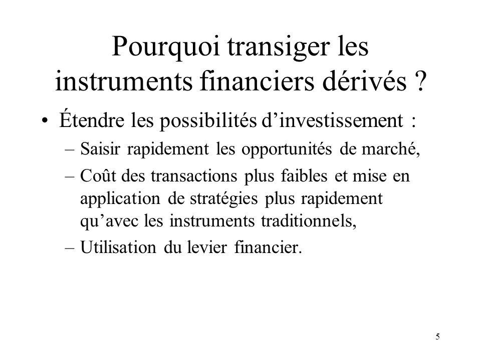 5 Pourquoi transiger les instruments financiers dérivés ? Étendre les possibilités dinvestissement : –Saisir rapidement les opportunités de marché, –C