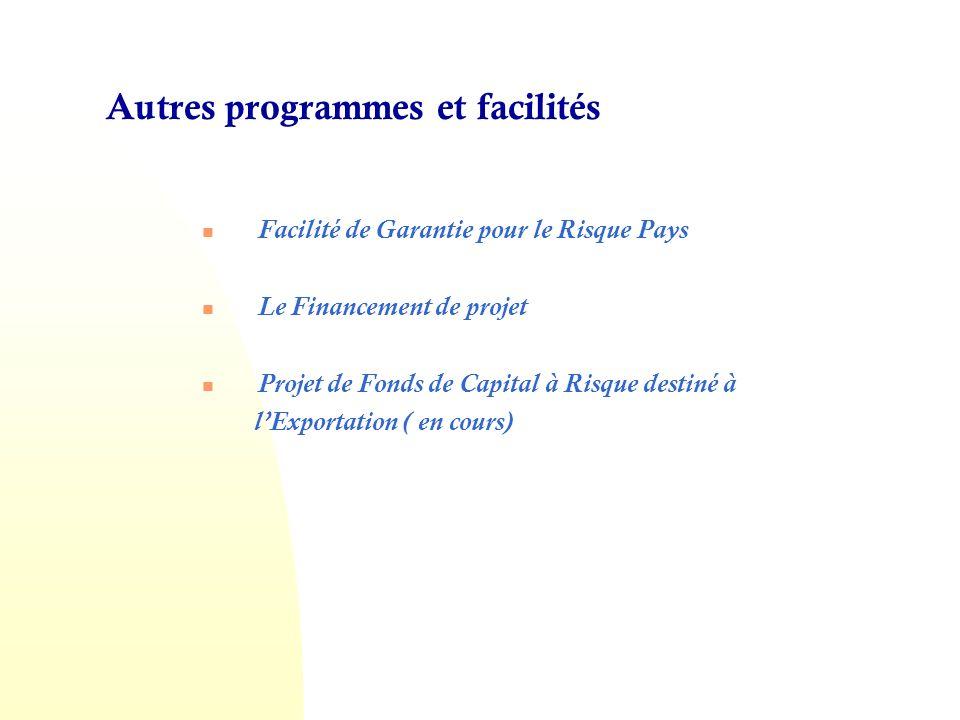 Autres programmes et facilités Facilité de Garantie pour le Risque Pays Le Financement de projet Projet de Fonds de Capital à Risque destiné à lExportation ( en cours)