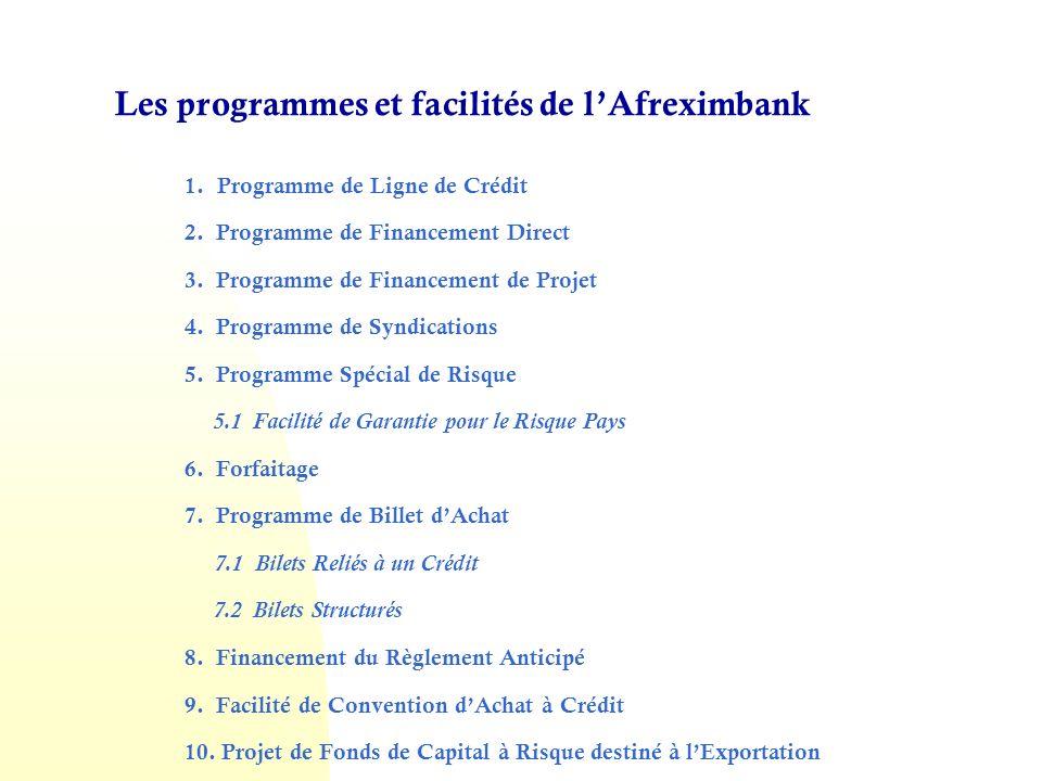 Les programmes et facilités de lAfreximbank 1.Programme de Ligne de Crédit 2.