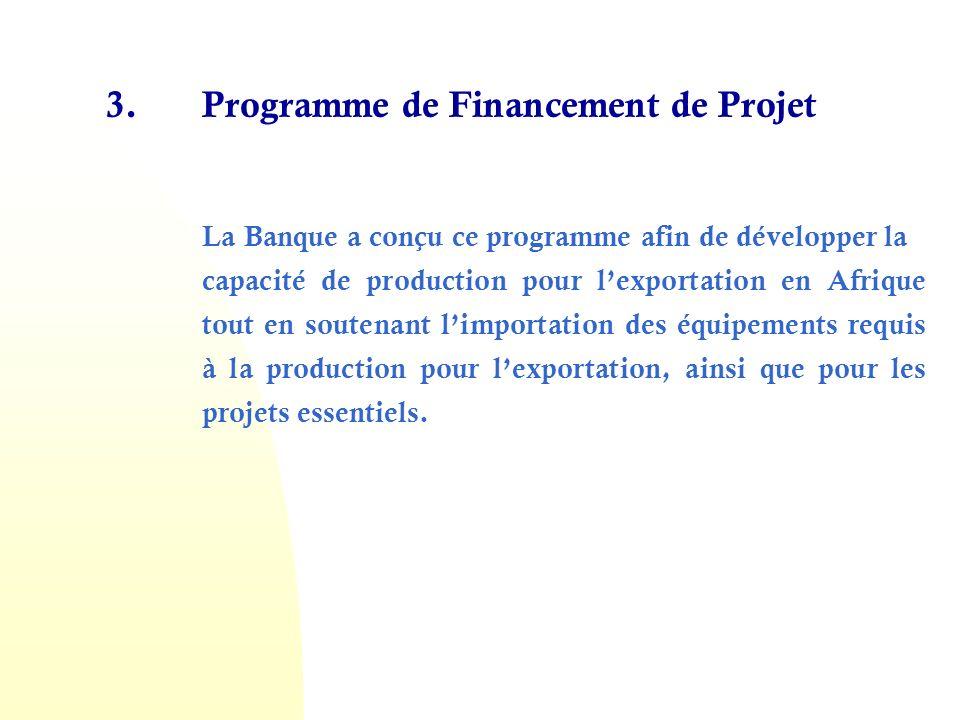 4.Programme de Syndications Cest un programme de partage du risque que la Banque utilise pour accroître le financement de commerce et de projet dans le Continent.