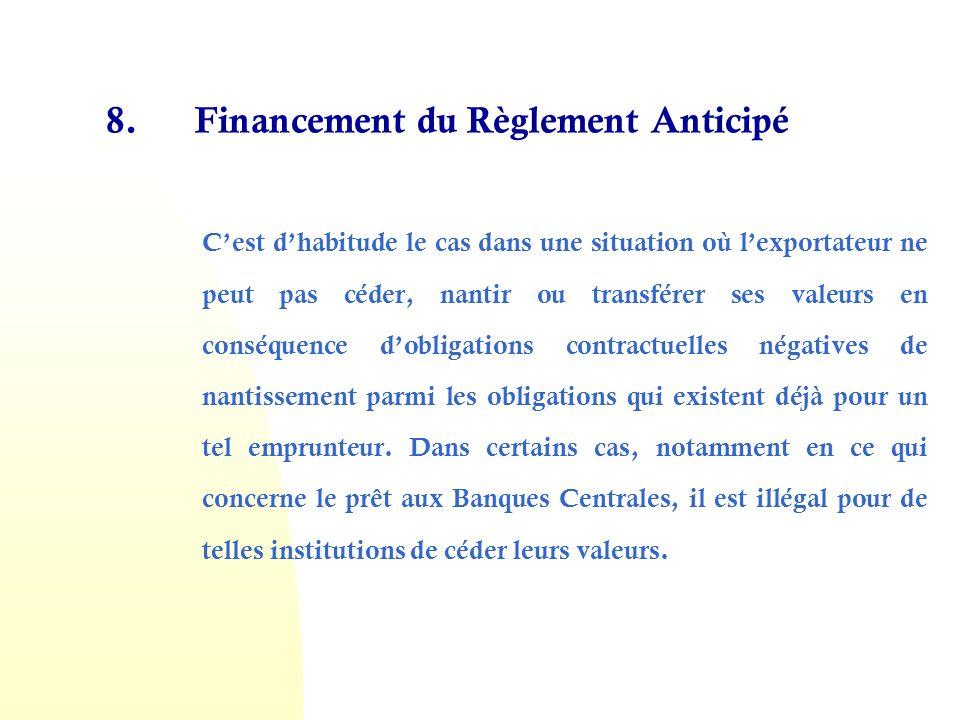 8. Financement du Règlement Anticipé Cest dhabitude le cas dans une situation où lexportateur ne peut pas céder, nantir ou transférer ses valeurs en c