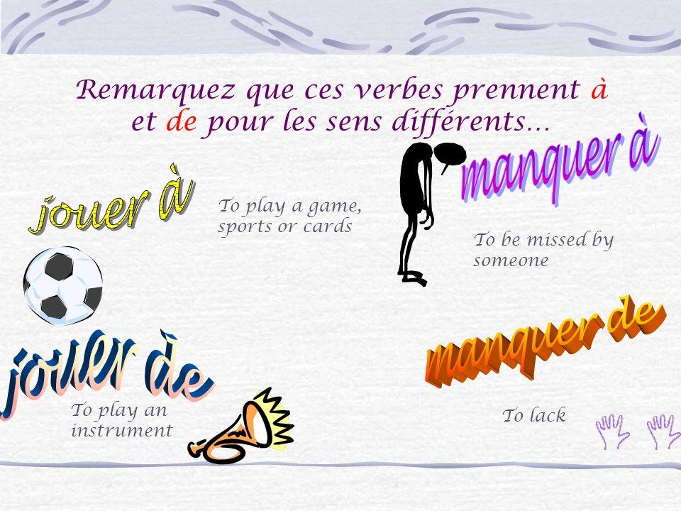 Voici quelques exemples des verbes qui emploient de + un nom… Sagir de Changer de Douter de Féliciter de Se méfier de Soccuper de Partir de Remercier
