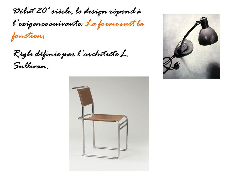 Début 20° siècle, le design répond à lexigence suivante: La forme suit la fonction; Règle définie par larchitecte L. Sullivan.