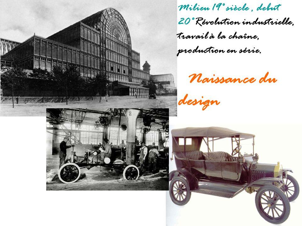 Milieu 19° siècle, debut 20°Révolution industrielle, travail à la chaîne, production en série. Naissance du design