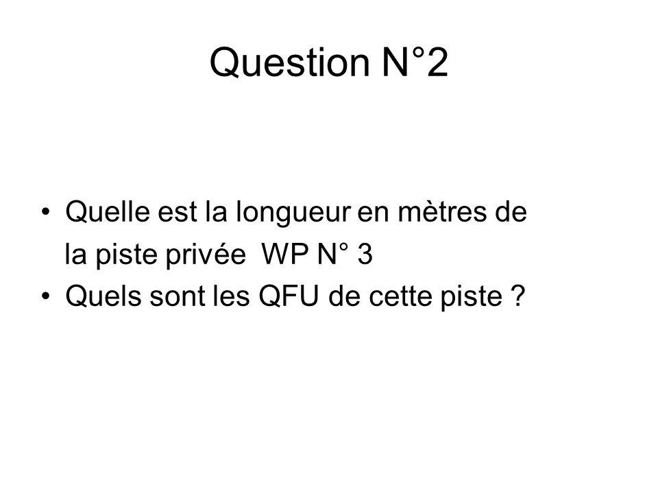 Quelle est la longueur en mètres de la piste privée WP N° 3 Quels sont les QFU de cette piste .
