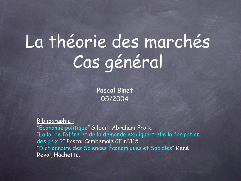 La théorie des marchés Cas général Pascal Binet 05/2004 Bibliographie : Économie politique Gilbert Abraham-Froix.