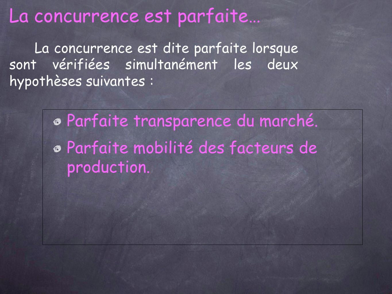 La concurrence est dite parfaite lorsque sont vérifiées simultanément les deux hypothèses suivantes : La concurrence est parfaite… Parfaite transparence du marché.