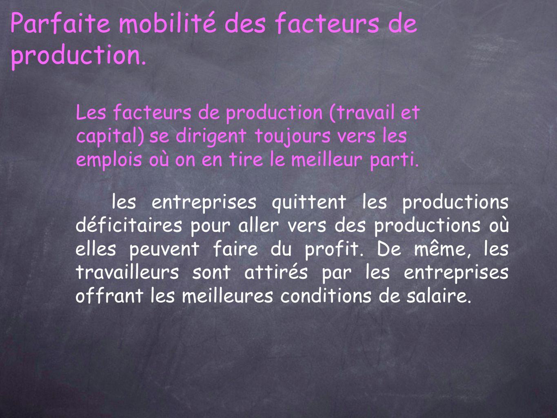 Parfaite mobilité des facteurs de production.