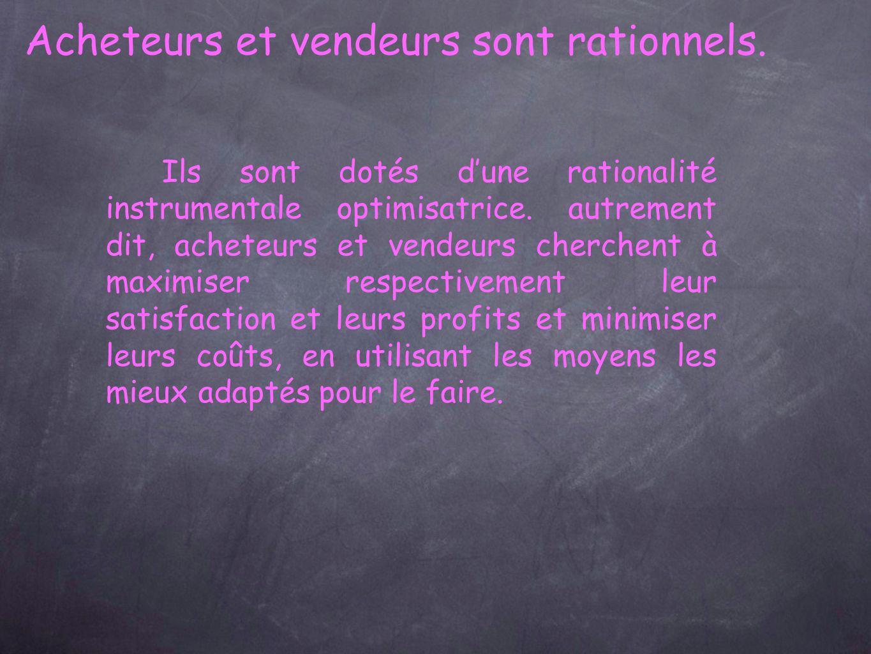 Acheteurs et vendeurs sont rationnels.Ils sont dotés dune rationalité instrumentale optimisatrice.