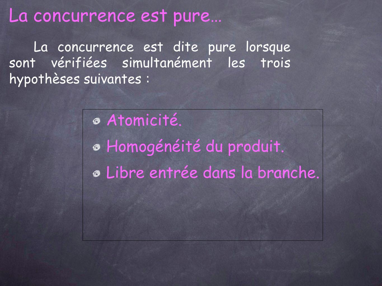 La concurrence est dite pure lorsque sont vérifiées simultanément les trois hypothèses suivantes : La concurrence est pure… Atomicité.