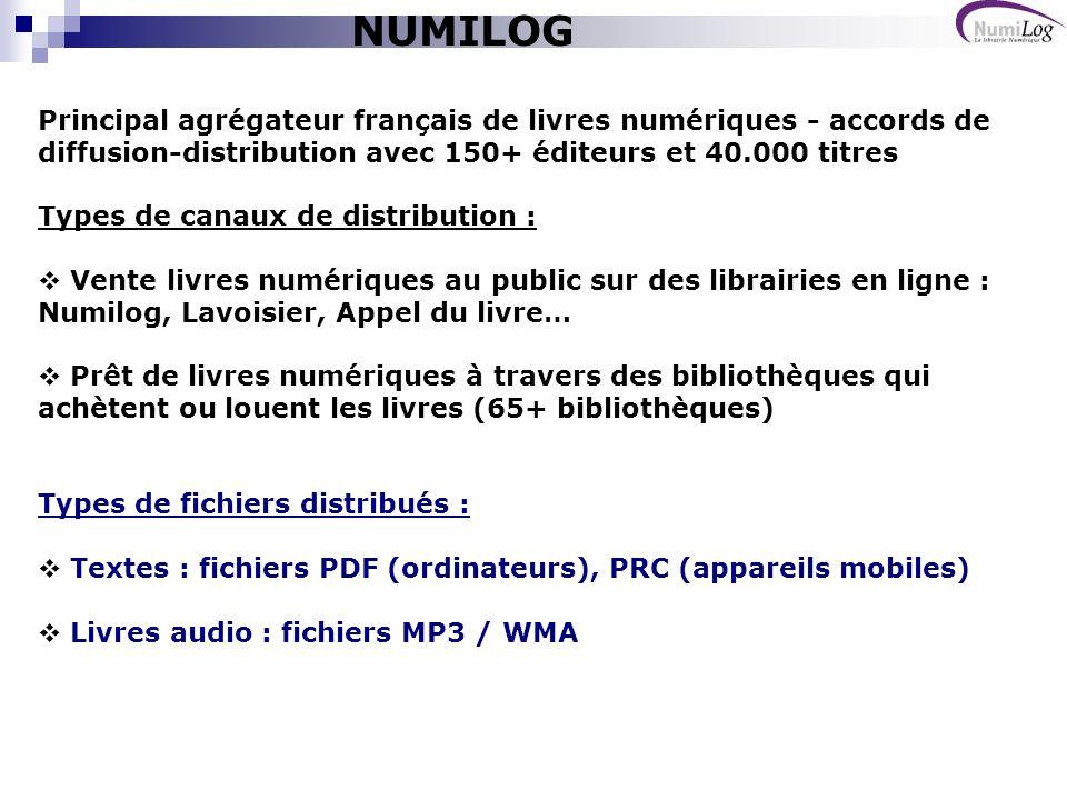 Rendez-vous sur le salon du livre de Paris: - stand de Numilog (espace « lectures de demain ») - stand de lédition adaptée : présentation de la BnH MERCI DE VOTRE ATTENTION Denis Zwirn dzwirn@numilog.com