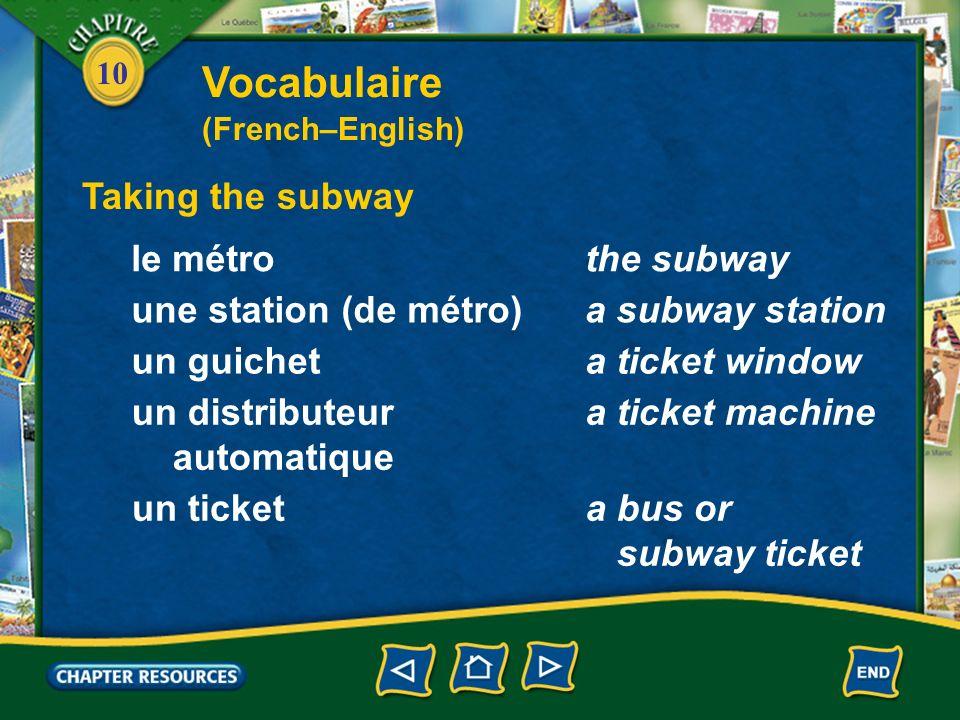 10 Taking the subway le métrothe subway Vocabulaire (French–English) une station (de métro)a subway station un guicheta ticket window un distributeur automatique a ticket machine un ticketa bus or subway ticket