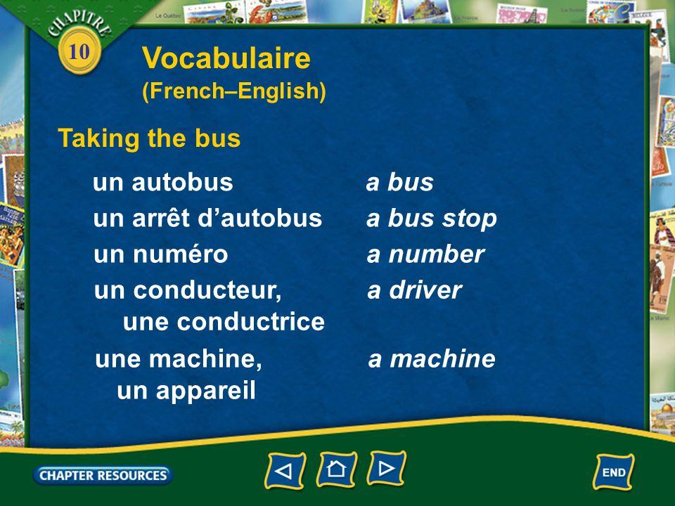 10 Taking the bus un autobusa bus un arrêt dautobusa bus stop un numéroa number un conducteur, une conductrice a driver une machine, un appareil a machine Vocabulaire (French–English)