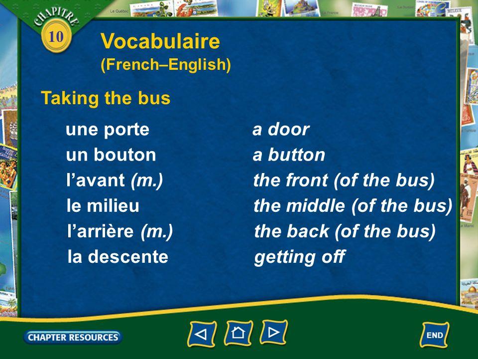 10 Taking the bus une portea door un boutona button lavant (m.)the front (of the bus) le milieuthe middle (of the bus) larrière (m.)the back (of the bus) la descentegetting off Vocabulaire (French–English)