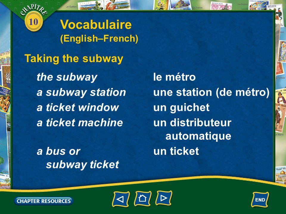 10 Taking the subway le métrothe subway Vocabulaire (English–French) une station (de métro)a subway station un guicheta ticket window un distributeur automatique a ticket machine un ticketa bus or subway ticket