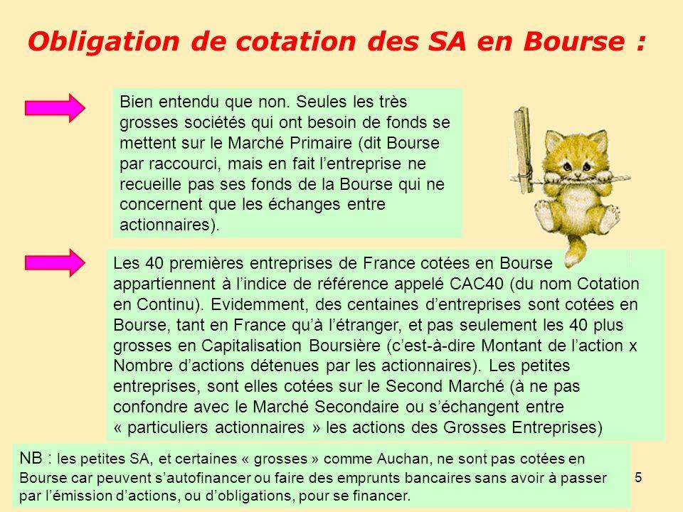 5 Obligation de cotation des SA en Bourse : Bien entendu que non.