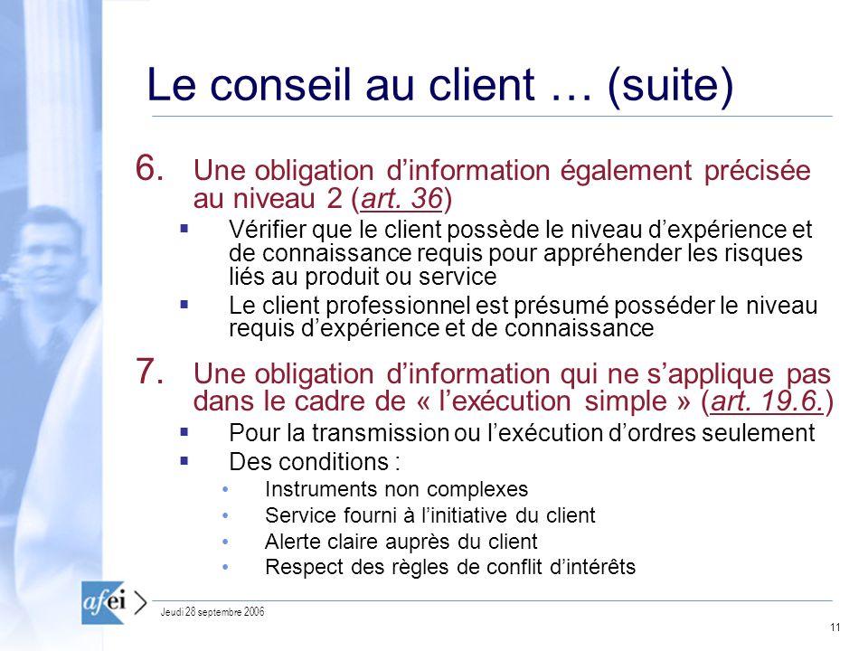 11 Jeudi 28 septembre 2006 Le conseil au client … (suite) 6.