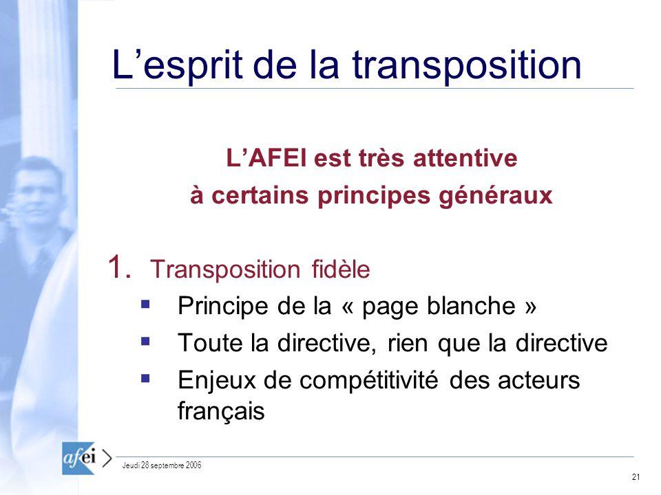 21 Jeudi 28 septembre 2006 Lesprit de la transposition LAFEI est très attentive à certains principes généraux 1.