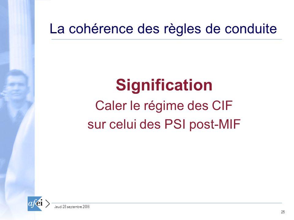 25 Jeudi 28 septembre 2006 La cohérence des règles de conduite Signification Caler le régime des CIF sur celui des PSI post-MIF