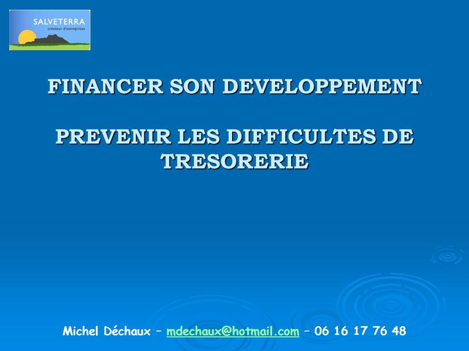 FINANCER SON DEVELOPPEMENT PREVENIR LES DIFFICULTES DE TRESORERIE Michel Déchaux – mdechaux@hotmail.com – 06 16 17 76 48mdechaux@hotmail.com