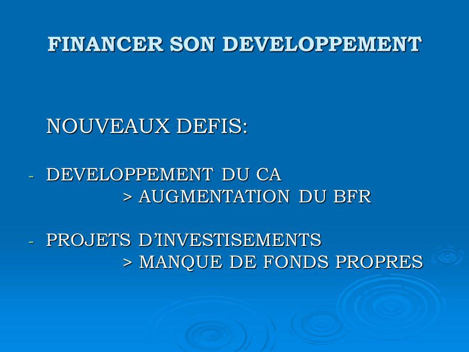 FINANCER SON DEVELOPPEMENT NOUVEAUX DEFIS: - DEVELOPPEMENT DU CA > AUGMENTATION DU BFR - PROJETS DINVESTISEMENTS > MANQUE DE FONDS PROPRES > MANQUE DE FONDS PROPRES