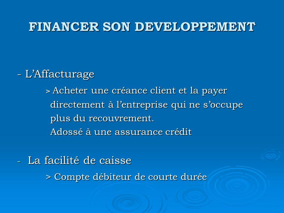 FINANCER SON DEVELOPPEMENT - LAffacturage > Acheter une créance client et la payer > Acheter une créance client et la payer directement à lentreprise qui ne soccupe directement à lentreprise qui ne soccupe plus du recouvrement.