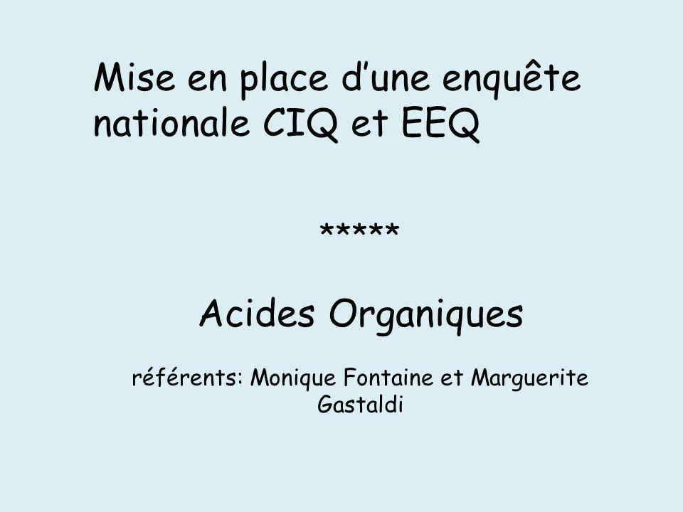 Mise en place dune enquête nationale CIQ et EEQ ***** Acides Organiques référents: Monique Fontaine et Marguerite Gastaldi