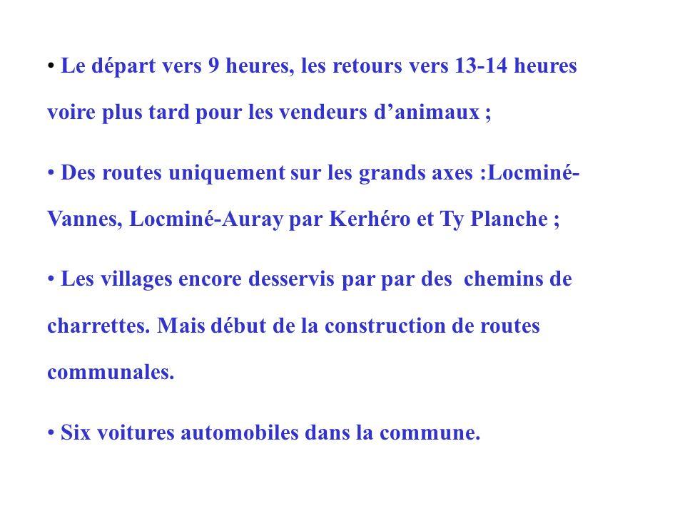 Le départ vers 9 heures, les retours vers 13-14 heures voire plus tard pour les vendeurs danimaux ; Des routes uniquement sur les grands axes :Locminé