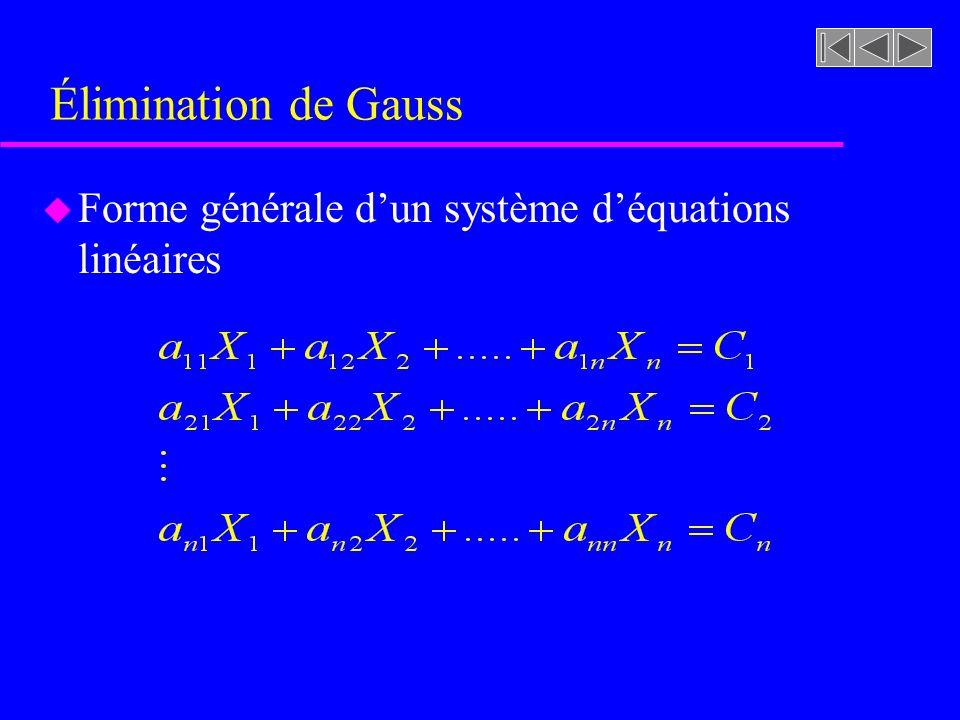 Élimination de Gauss u Forme générale dun système déquations linéaires