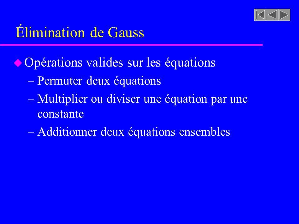 Élimination de Gauss u Opérations valides sur les équations –Permuter deux équations –Multiplier ou diviser une équation par une constante –Additionner deux équations ensembles
